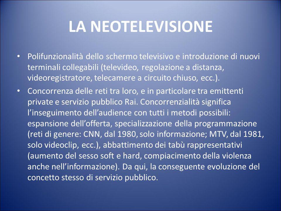 LA NEOTELEVISIONE Sviluppo tecnologia e mercato dei media (a partire dall'affermazione del telecomando e del videoregistratore). L'apparecchio tv non