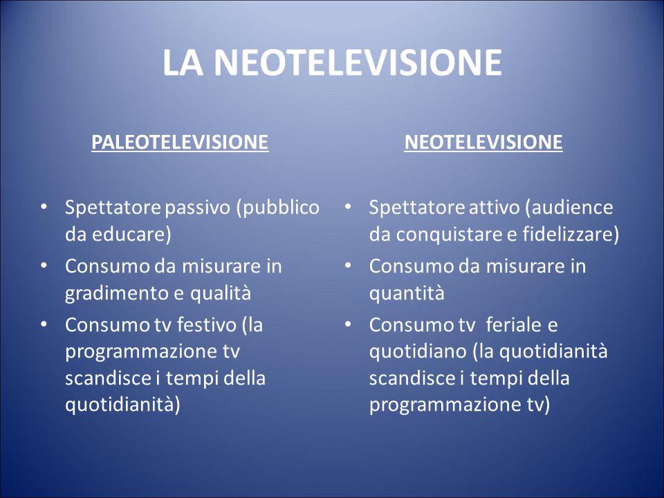 LA NEOTELEVISIONE PALEOTELEVISIONE Emittente-destinatario: rapporto didattico- pedagogico (gerachico, paternalistico, monodirezionale) Tv come prolung