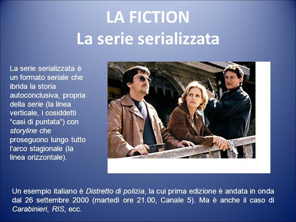 LA FICTION La serie Le serie tv sono composte da episodi della durata variabile, in media da 45 a 60 minuti, con storie autoconclusive, dove l'element