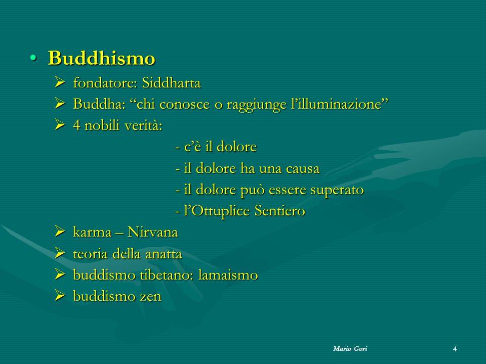"""Mario Gori 4 BuddhismoBuddhismo  fondatore: Siddharta  Buddha: """"chi conosce o raggiunge l'illuminazione""""  4 nobili verità: - c'è il dolore - il dol"""