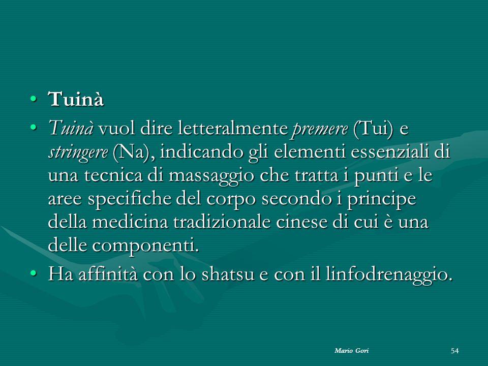 Mario Gori 54 TuinàTuinà Tuinà vuol dire letteralmente premere (Tui) e stringere (Na), indicando gli elementi essenziali di una tecnica di massaggio c