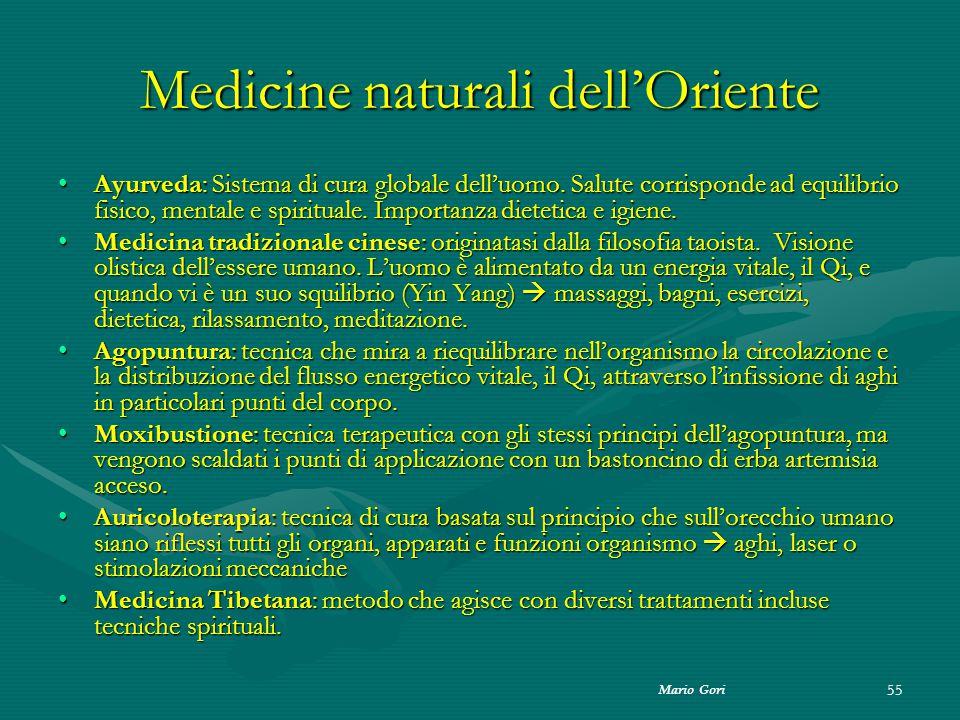 Mario Gori 55 Medicine naturali dell'Oriente Ayurveda: Sistema di cura globale dell'uomo. Salute corrisponde ad equilibrio fisico, mentale e spiritual