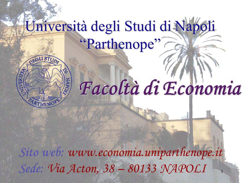 """1 Università degli Studi di Napoli """"Parthenope"""" Facoltà di Economia Sito web: www.economia.uniparthenope.it Sede: Via Acton, 38 – 80133 NAPOLI"""
