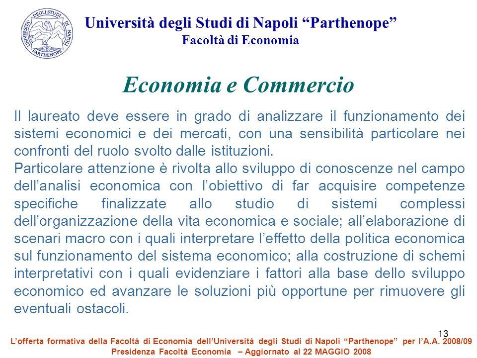 """13 Università degli Studi di Napoli """"Parthenope"""" Facoltà di Economia Economia e Commercio Il laureato deve essere in grado di analizzare il funzioname"""