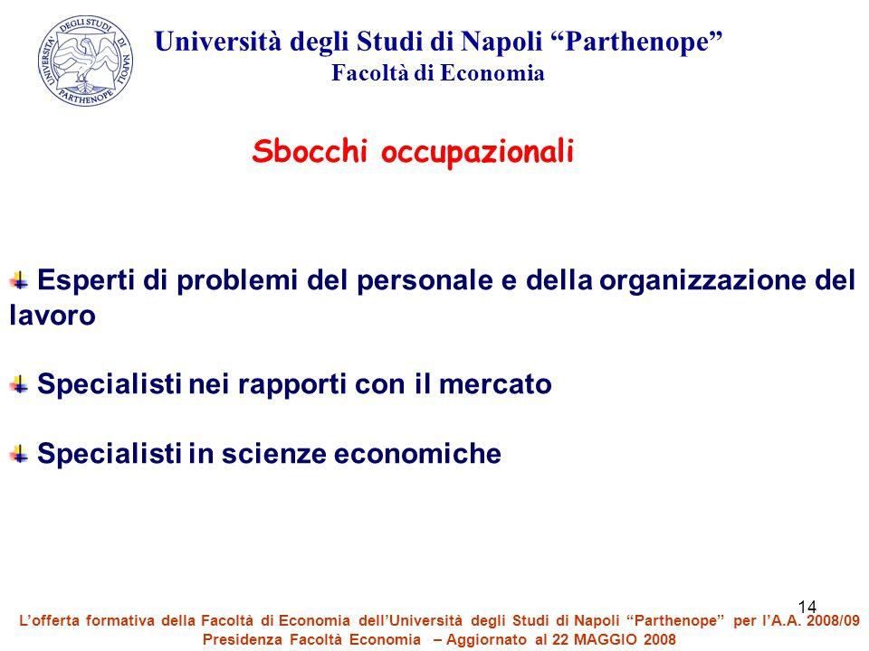 """14 Università degli Studi di Napoli """"Parthenope"""" Facoltà di Economia Sbocchi occupazionali Esperti di problemi del personale e della organizzazione de"""