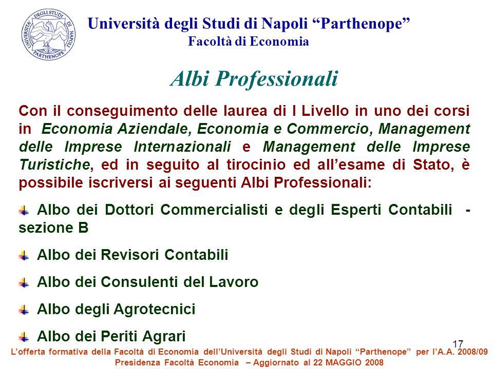 17 Con il conseguimento delle laurea di I Livello in uno dei corsi in Economia Aziendale, Economia e Commercio, Management delle Imprese Internazional