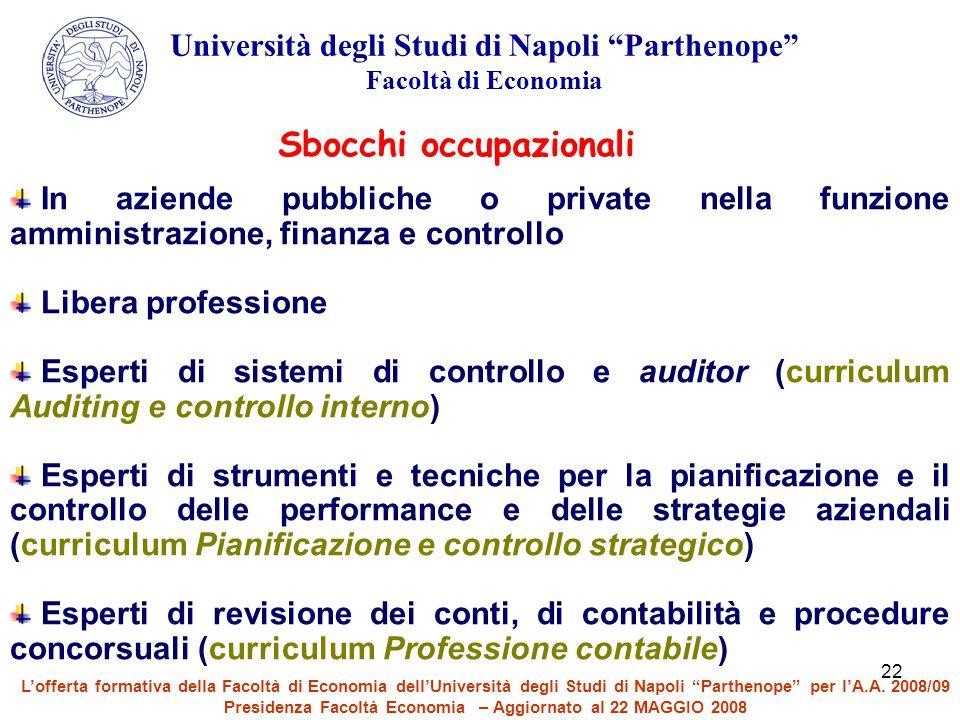 """22 Università degli Studi di Napoli """"Parthenope"""" Facoltà di Economia Sbocchi occupazionali In aziende pubbliche o private nella funzione amministrazio"""