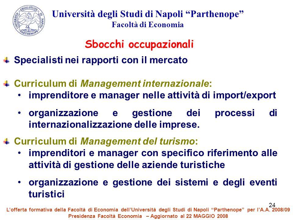 """24 Università degli Studi di Napoli """"Parthenope"""" Facoltà di Economia Sbocchi occupazionali Specialisti nei rapporti con il mercato Curriculum di Manag"""