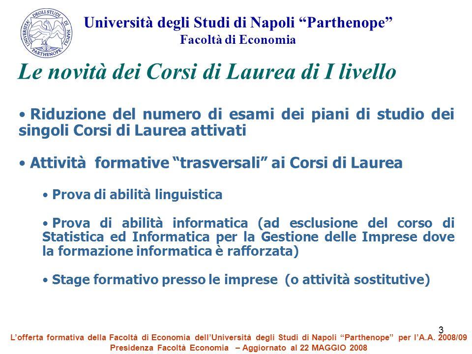 """3 Riduzione del numero di esami dei piani di studio dei singoli Corsi di Laurea attivati Attività formative """"trasversali"""" ai Corsi di Laurea Prova di"""
