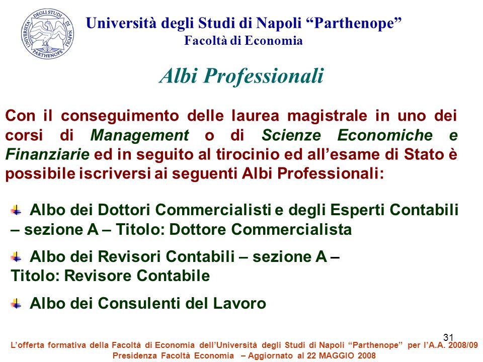 31 Albi Professionali Con il conseguimento delle laurea magistrale in uno dei corsi di Management o di Scienze Economiche e Finanziarie ed in seguito