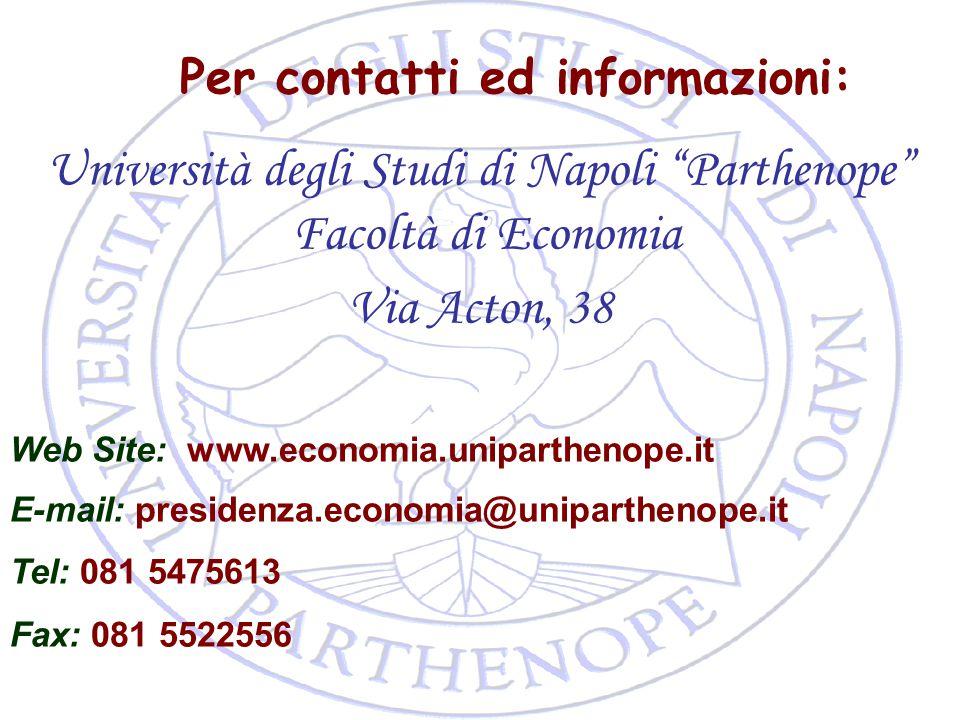 """36 Per contatti ed informazioni: Università degli Studi di Napoli """"Parthenope"""" Facoltà di Economia Via Acton, 38 Web Site: www.economia.uniparthenope."""
