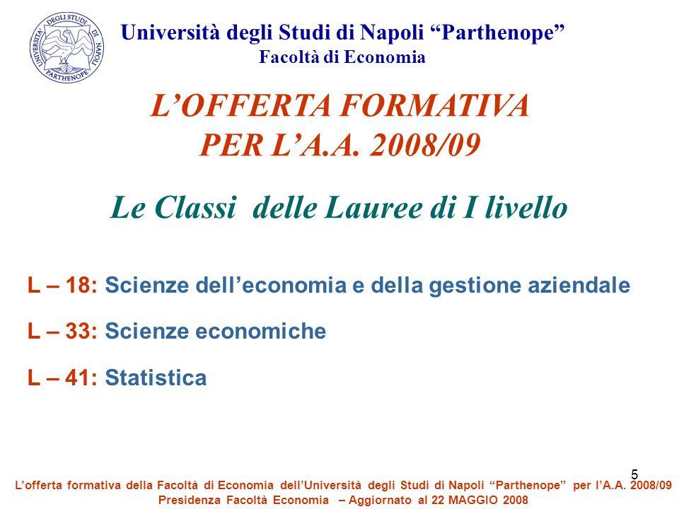"""5 Università degli Studi di Napoli """"Parthenope"""" Facoltà di Economia L'OFFERTA FORMATIVA PER L'A.A. 2008/09 Le Classi delle Lauree di I livello L – 18:"""