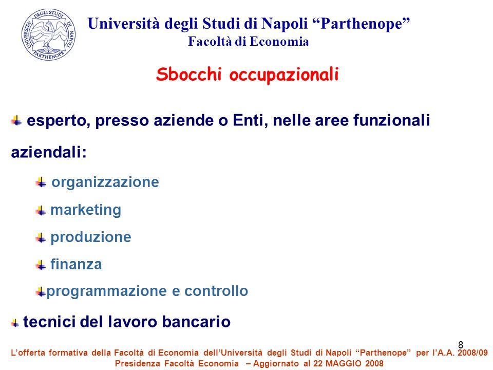 """8 Università degli Studi di Napoli """"Parthenope"""" Facoltà di Economia esperto, presso aziende o Enti, nelle aree funzionali aziendali: organizzazione ma"""