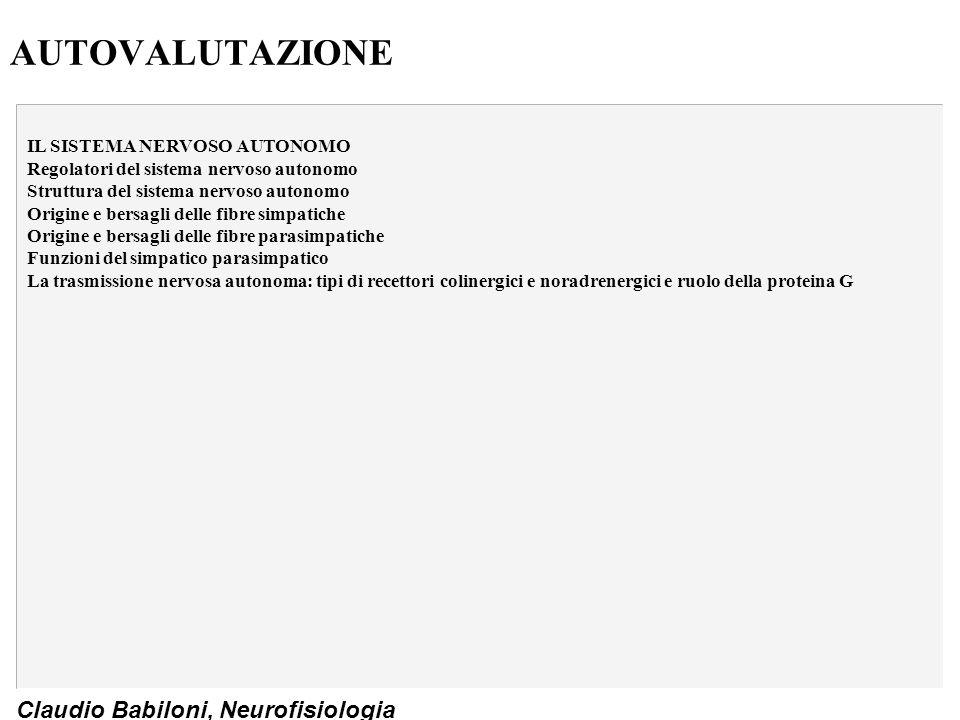 Claudio Babiloni, Neurofisiologia AUTOVALUTAZIONE IL SISTEMA NERVOSO AUTONOMO Regolatori del sistema nervoso autonomo Struttura del sistema nervoso au