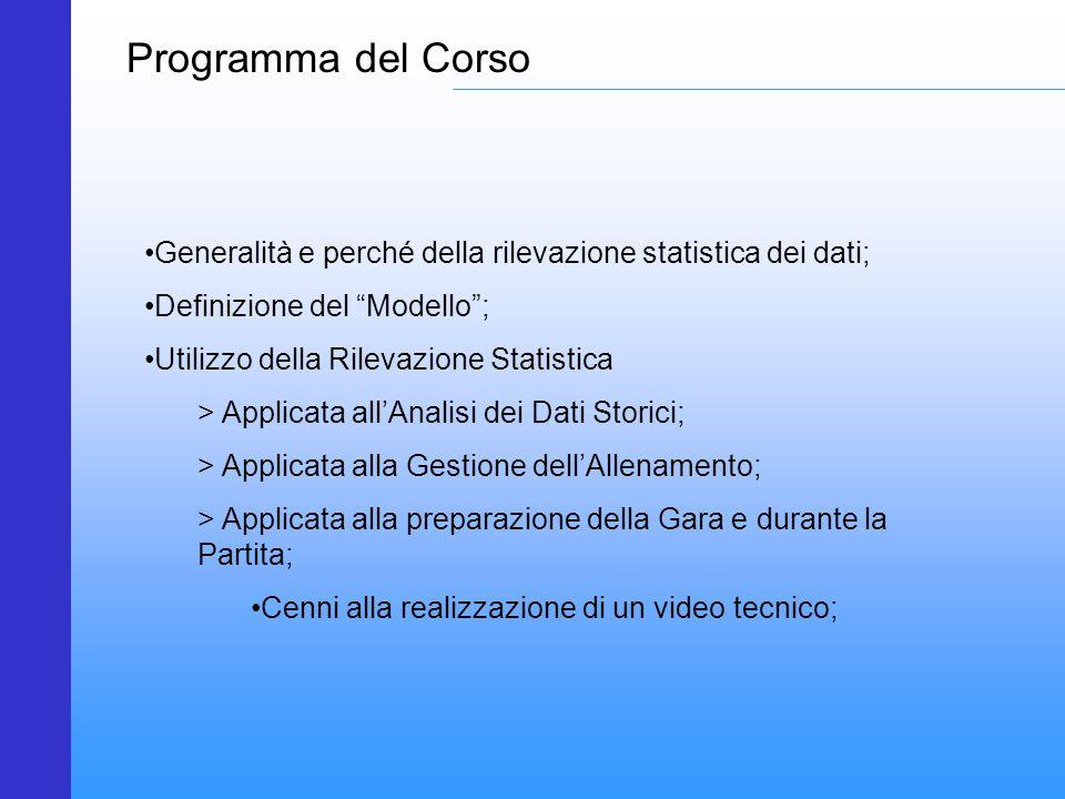 """Programma del Corso Generalità e perché della rilevazione statistica dei dati; Definizione del """"Modello""""; Utilizzo della Rilevazione Statistica > Appl"""