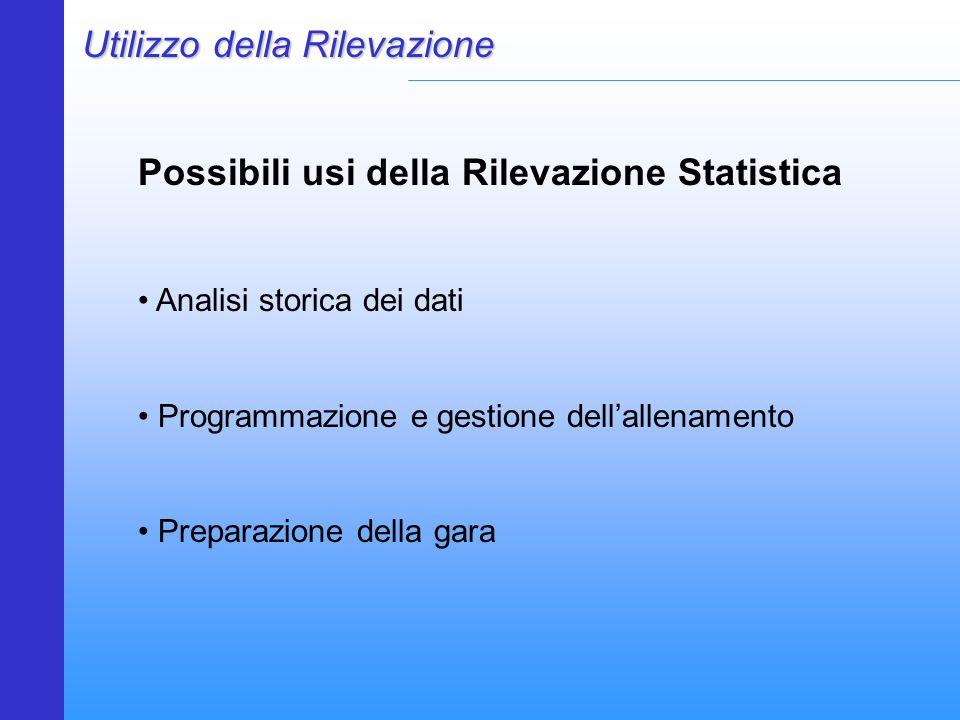 Utilizzo della Rilevazione Possibili usi della Rilevazione Statistica Analisi storica dei dati Programmazione e gestione dell'allenamento Preparazione della gara