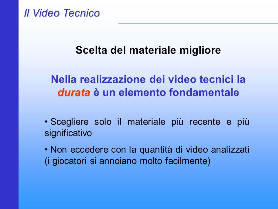 Il Video Tecnico Scelta del materiale migliore Scegliere solo il materiale più recente e più significativo Non eccedere con la quantità di video analizzati (i giocatori si annoiano molto facilmente) durata Nella realizzazione dei video tecnici la durata è un elemento fondamentale