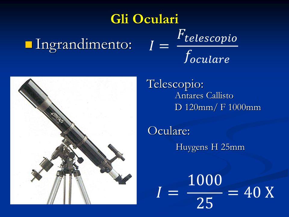 Gli Oculari Telescopio: Antares Callisto D 120mm/ F 1000mm Oculare: Huygens H 25mm Ingrandimento: Ingrandimento: