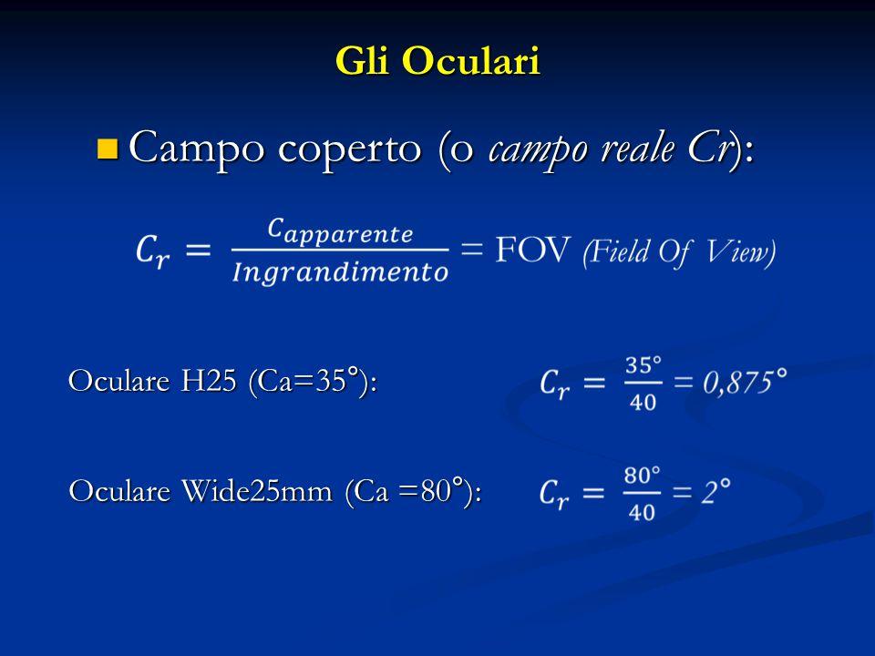 Gli Oculari Campo coperto (o campo reale Cr): Campo coperto (o campo reale Cr): Oculare H25 (Ca=35°): Oculare Wide25mm (Ca =80°):