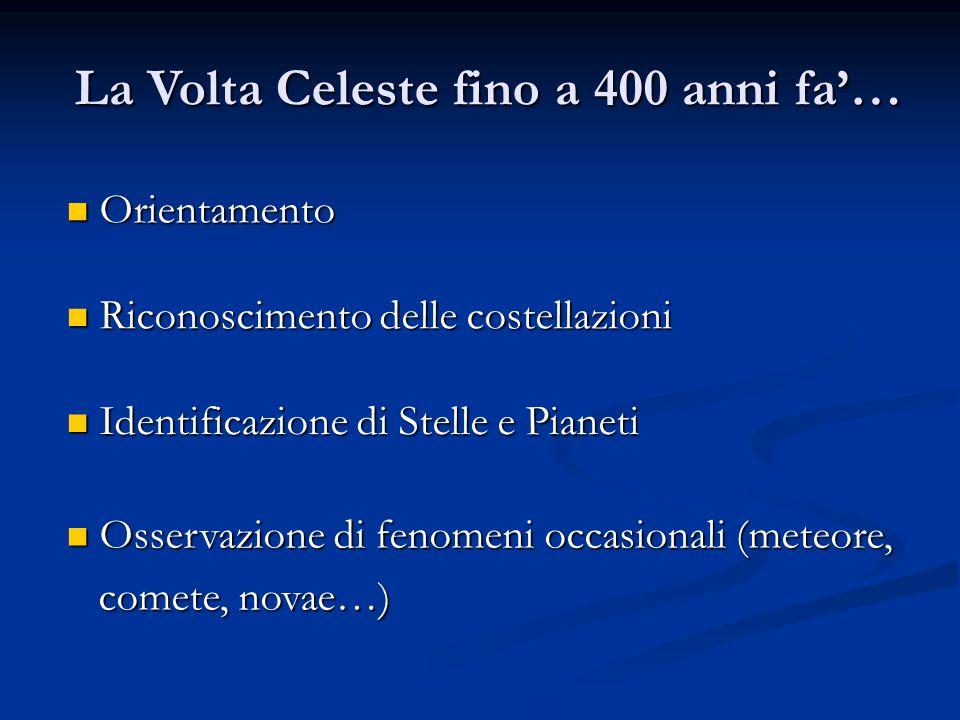 La Volta Celeste fino a 400 anni fa'… Orientamento Orientamento Riconoscimento delle costellazioni Riconoscimento delle costellazioni Identificazione di Stelle e Pianeti Identificazione di Stelle e Pianeti Osservazione di fenomeni occasionali (meteore, Osservazione di fenomeni occasionali (meteore, comete, novae…) comete, novae…)
