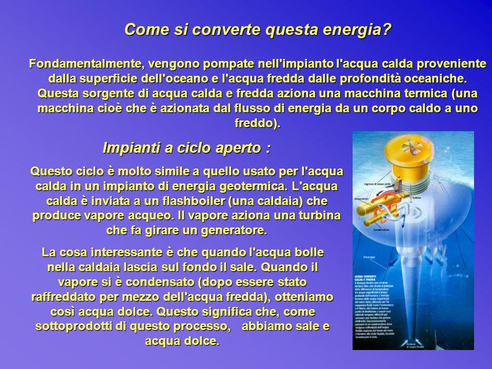 Come si converte questa energia? Fondamentalmente, vengono pompate nell'impianto l'acqua calda proveniente dalla superficie dell'oceano e l'acqua fred