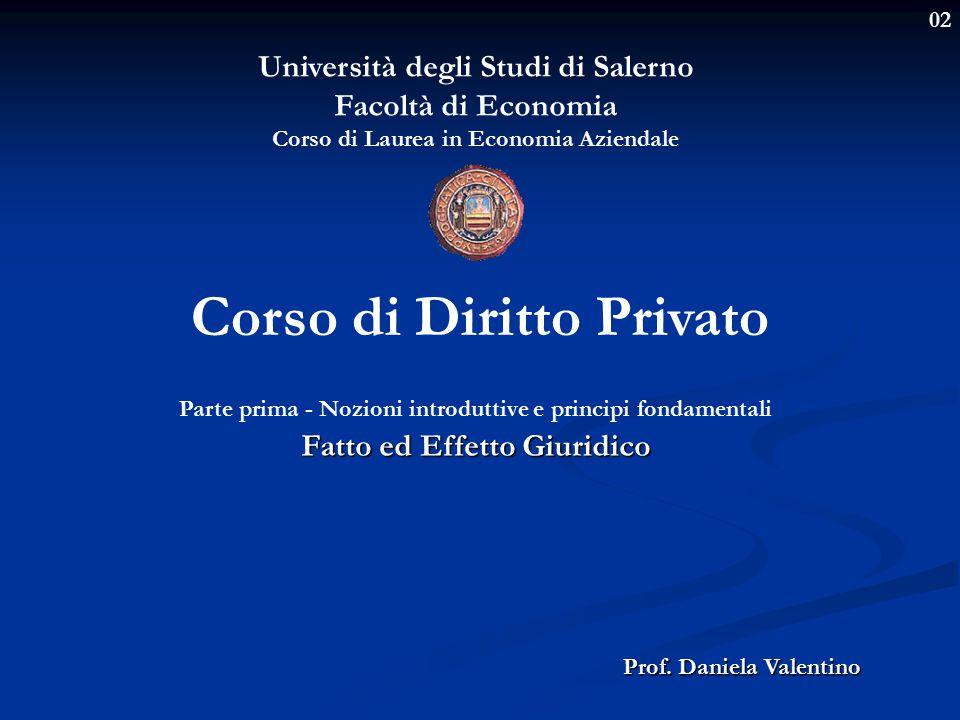 02 Università degli Studi di Salerno Facoltà di Economia Corso di Laurea in Economia Aziendale Prof.