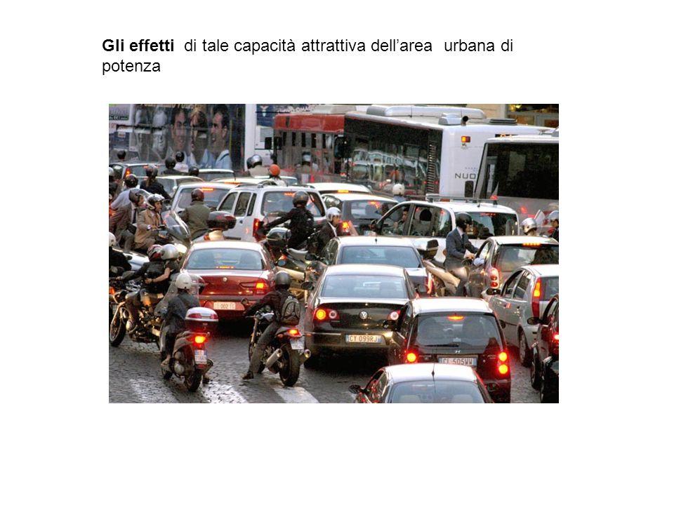 Gli effetti di tale capacità attrattiva dell'area urbana di potenza