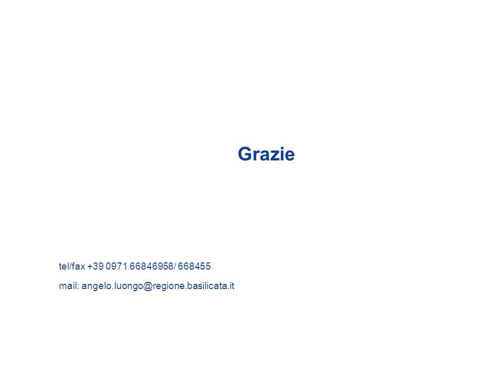 Grazie tel/fax +39 0971 66846958/ 668455 mail: angelo.luongo@regione.basilicata.it