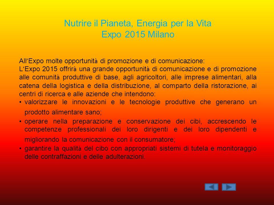 All ' Expo molte opportunit à di promozione e di comunicazione: L ' Expo 2015 offrir à una grande opportunit à di comunicazione e di promozione alle c