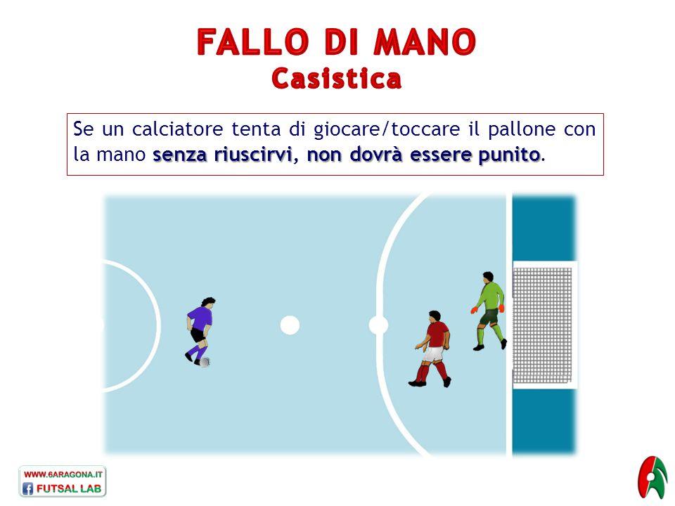 senza riuscirvinon dovrà essere punito Se un calciatore tenta di giocare/toccare il pallone con la mano senza riuscirvi, non dovrà essere punito.