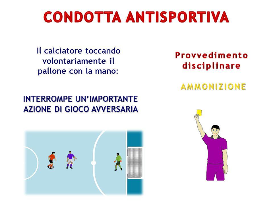 Il calciatore toccando volontariamente il pallone con la mano: INTERROMPE UN'IMPORTANTE AZIONE DI GIOCO AVVERSARIA AMMONIZIONE