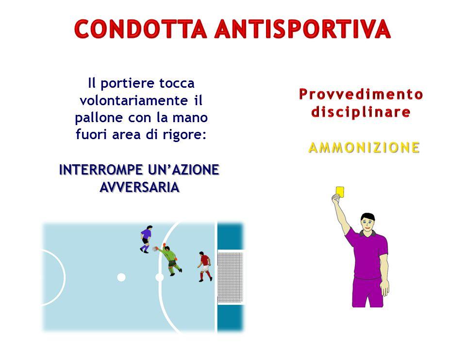 Il portiere tocca volontariamente il pallone con la mano fuori area di rigore: INTERROMPE UN'AZIONE AVVERSARIA AMMONIZIONE