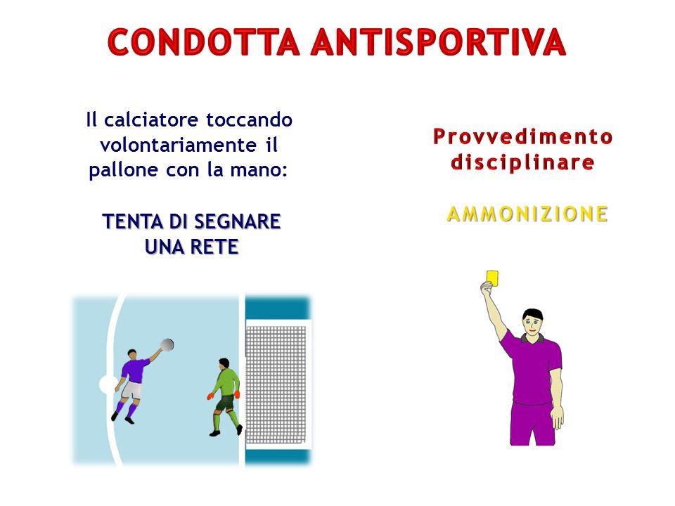 Il calciatore toccando volontariamente il pallone con la mano: TENTA DI SEGNARE UNA RETE AMMONIZIONE