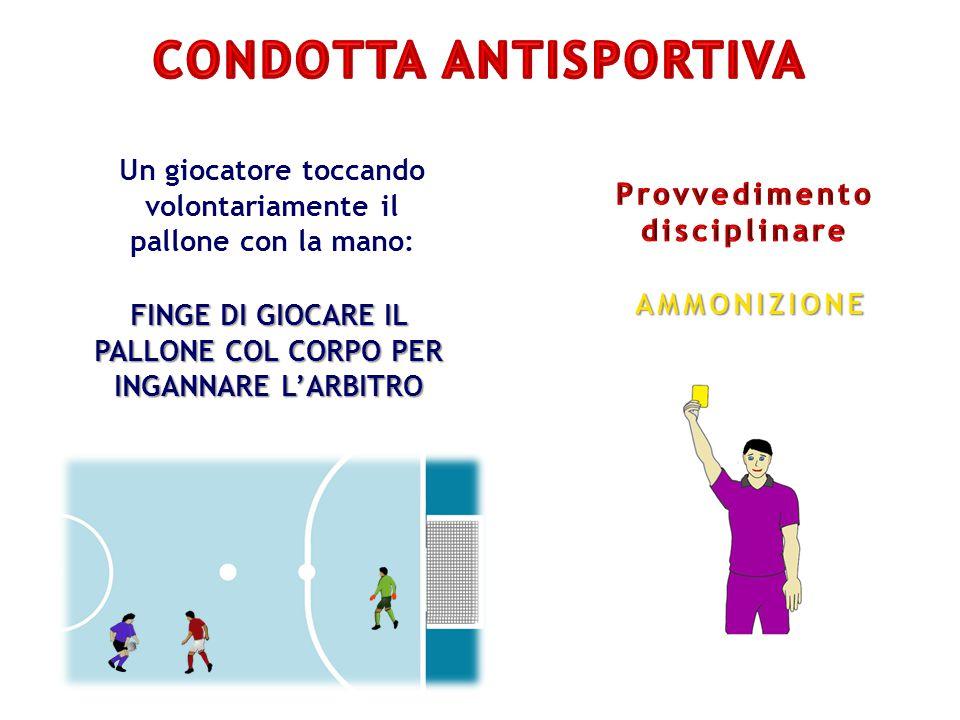 Un giocatore toccando volontariamente il pallone con la mano: FINGE DI GIOCARE IL PALLONE COL CORPO PER INGANNARE L'ARBITRO AMMONIZIONE