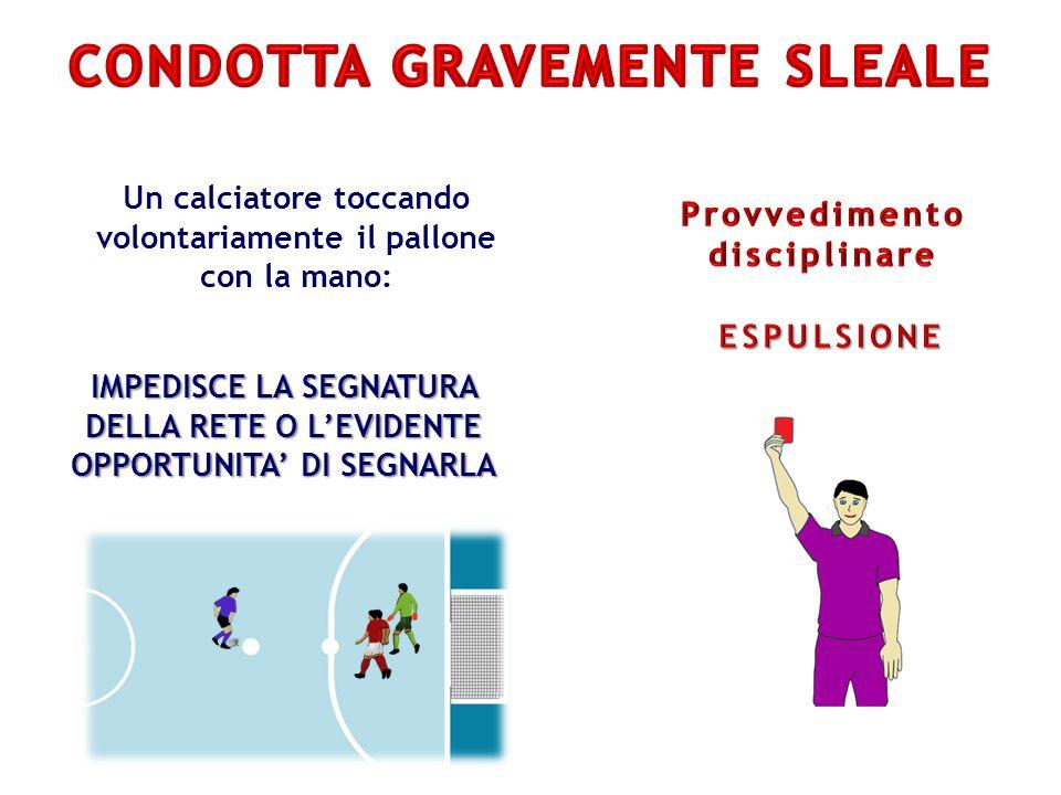 Un calciatore toccando volontariamente il pallone con la mano: IMPEDISCE LA SEGNATURA DELLA RETE O L'EVIDENTE OPPORTUNITA' DI SEGNARLA