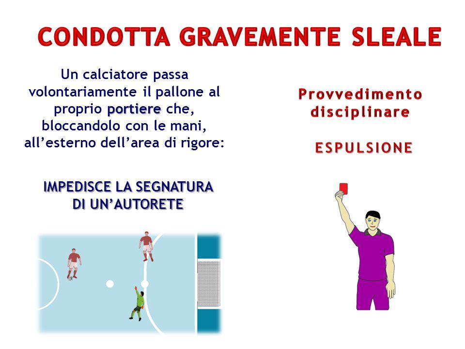 portiere Un calciatore passa volontariamente il pallone al proprio portiere che, bloccandolo con le mani, all'esterno dell'area di rigore: IMPEDISCE LA SEGNATURA DI UN'AUTORETE