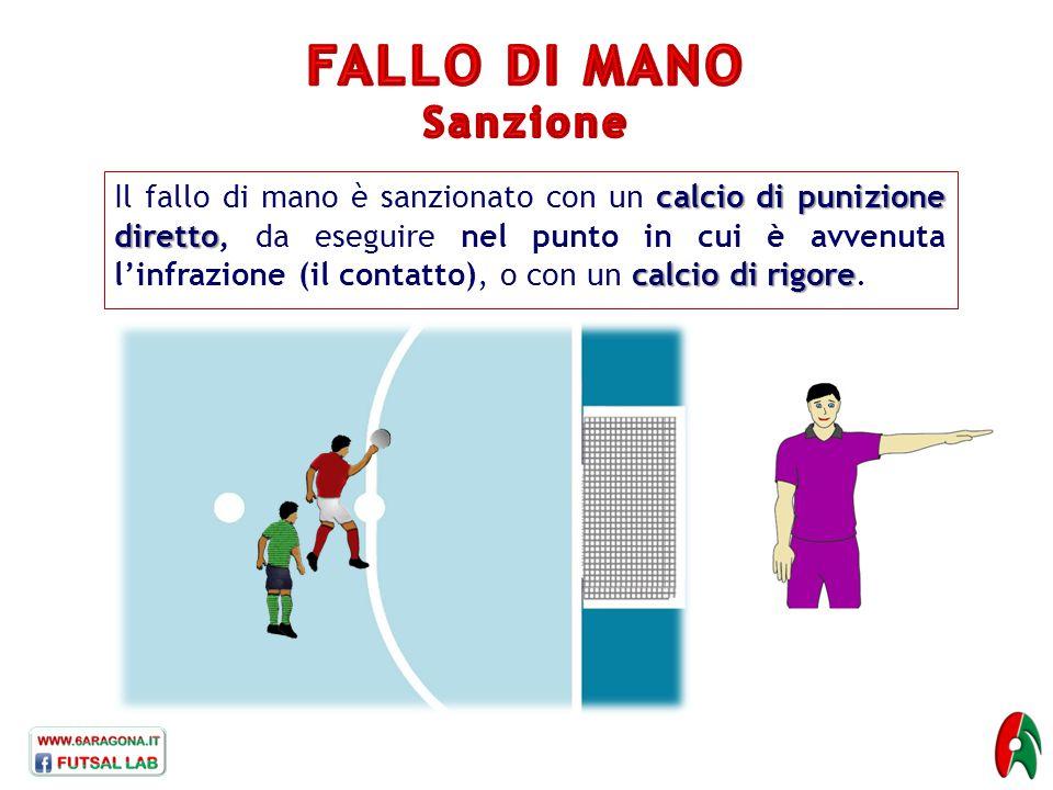 calcio di punizione diretto calcio di rigore Il fallo di mano è sanzionato con un calcio di punizione diretto, da eseguire nel punto in cui è avvenuta l'infrazione (il contatto), o con un calcio di rigore.