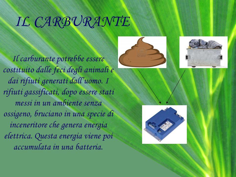 IL CARBURANTE Il carburante potrebbe essere costituito dalle feci degli animali e dai rifiuti generati dall'uomo. I rifiuti gassificati, dopo essere s