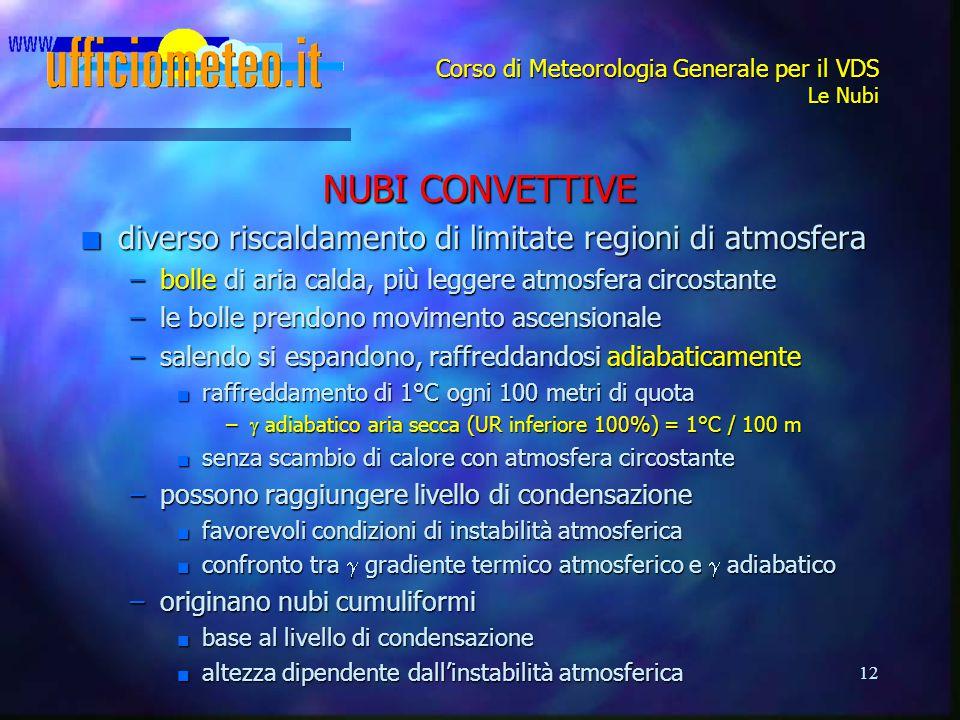 12 Corso di Meteorologia Generale per il VDS Le Nubi NUBI CONVETTIVE n diverso riscaldamento di limitate regioni di atmosfera –bolle di aria calda, pi