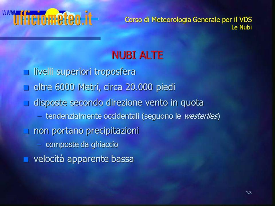 22 Corso di Meteorologia Generale per il VDS Le Nubi NUBI ALTE n livelli superiori troposfera n oltre 6000 Metri, circa 20.000 piedi n disposte second