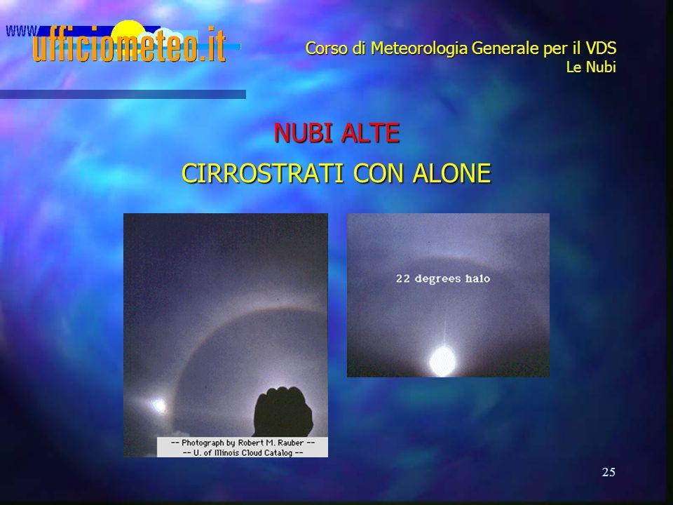 25 Corso di Meteorologia Generale per il VDS Le Nubi NUBI ALTE CIRROSTRATI CON ALONE