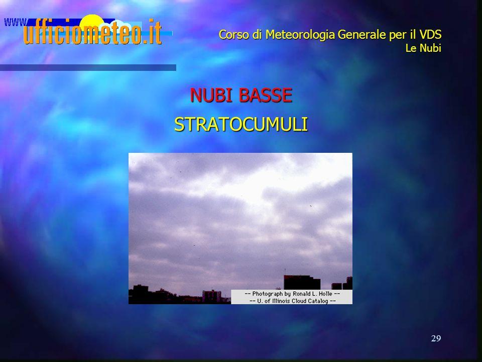 29 Corso di Meteorologia Generale per il VDS Le Nubi NUBI BASSE STRATOCUMULI