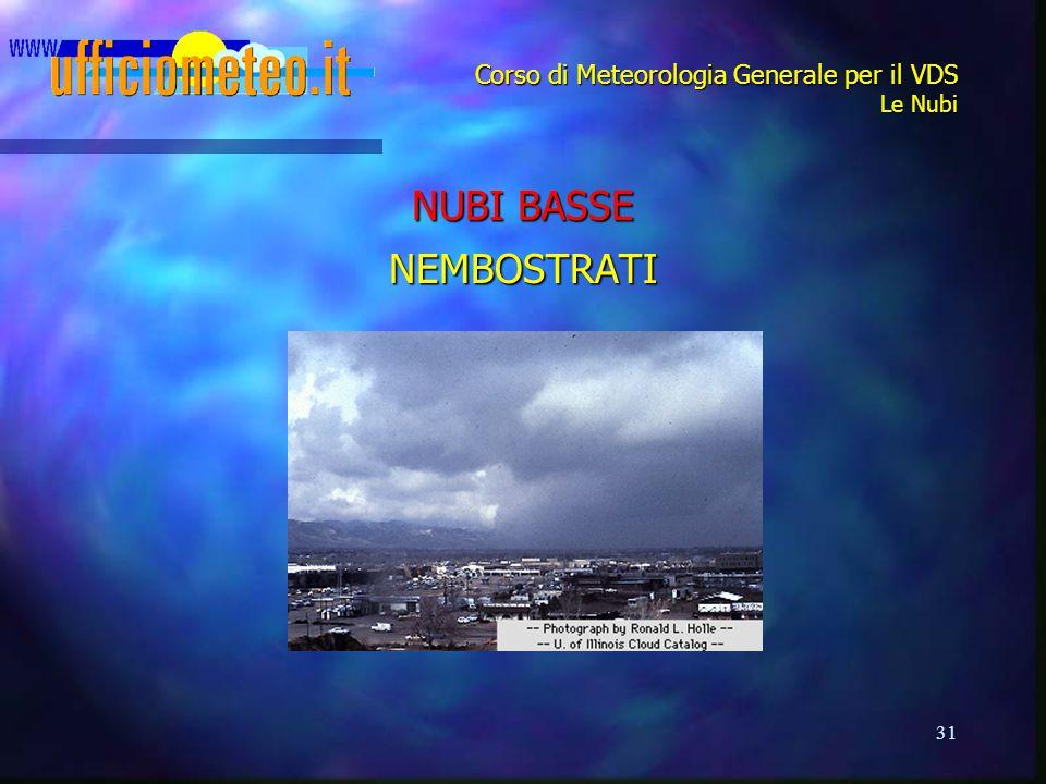 31 Corso di Meteorologia Generale per il VDS Le Nubi NUBI BASSE NEMBOSTRATI
