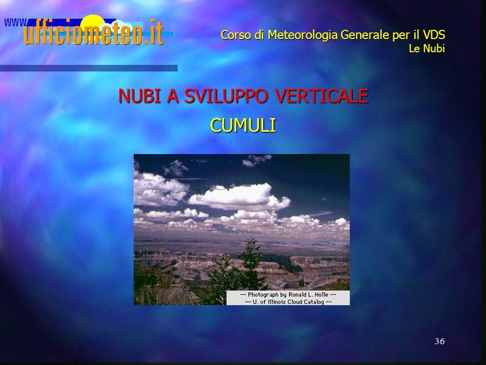 36 Corso di Meteorologia Generale per il VDS Le Nubi NUBI A SVILUPPO VERTICALE CUMULI