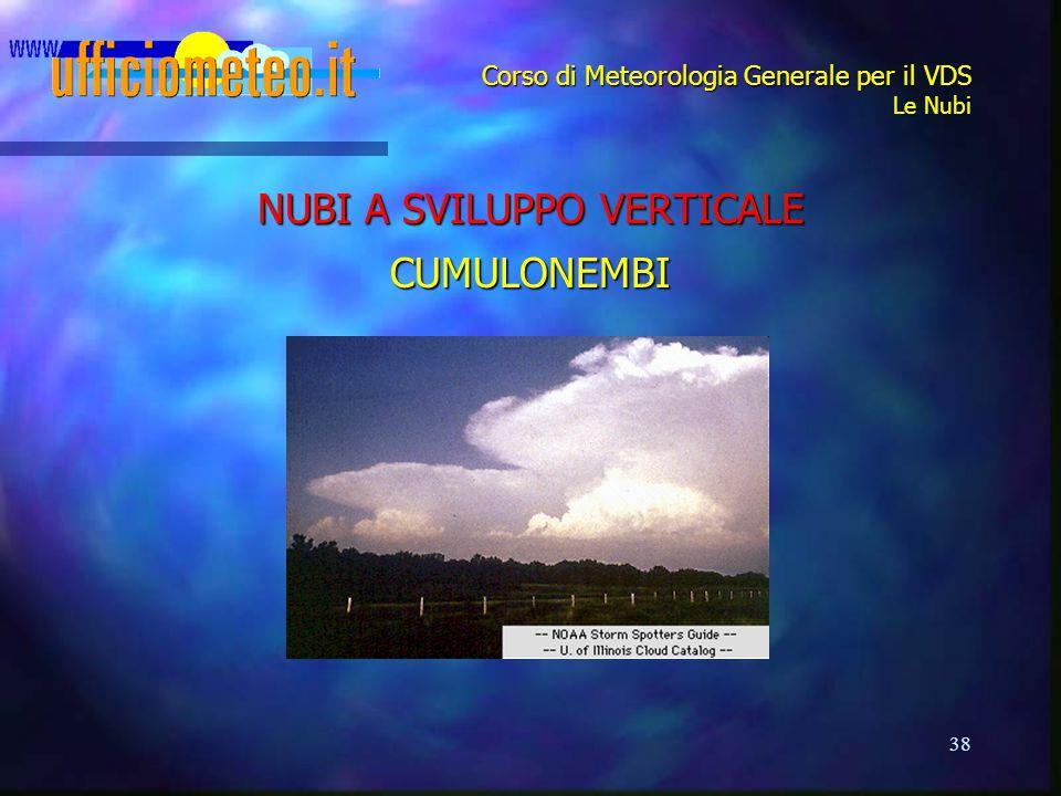 38 Corso di Meteorologia Generale per il VDS Le Nubi NUBI A SVILUPPO VERTICALE CUMULONEMBI