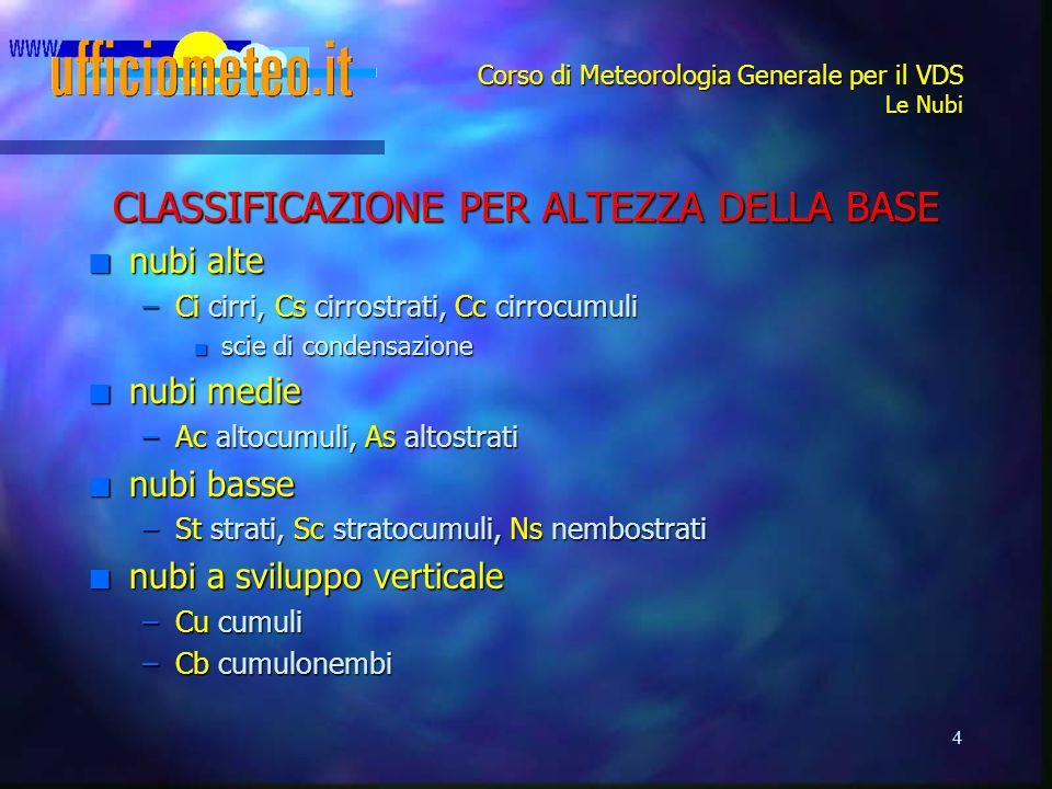 4 Corso di Meteorologia Generale per il VDS Le Nubi CLASSIFICAZIONE PER ALTEZZA DELLA BASE n nubi alte –Ci cirri, Cs cirrostrati, Cc cirrocumuli n sci