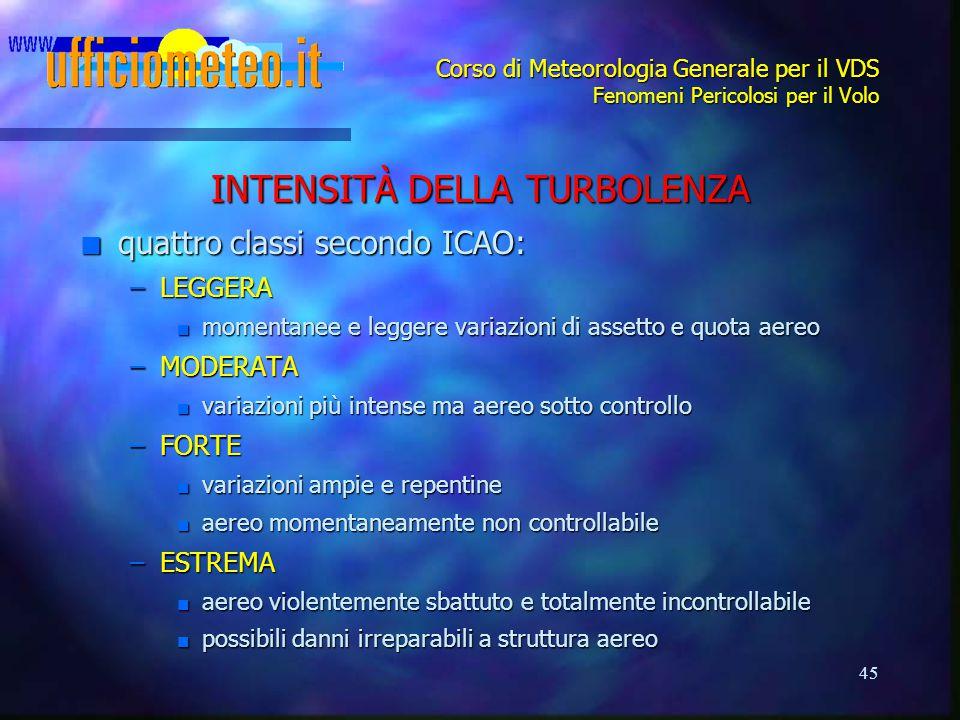 45 Corso di Meteorologia Generale per il VDS Fenomeni Pericolosi per il Volo INTENSITÀ DELLA TURBOLENZA n quattro classi secondo ICAO: –LEGGERA n mome