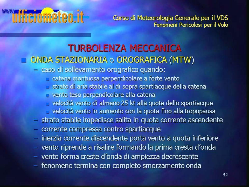 52 Corso di Meteorologia Generale per il VDS Fenomeni Pericolosi per il Volo TURBOLENZA MECCANICA n ONDA STAZIONARIA o OROGRAFICA (MTW) –caso di solle