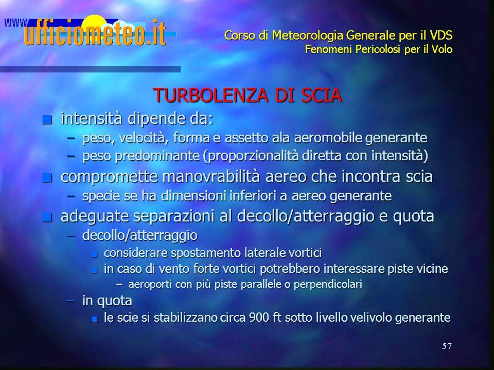 57 Corso di Meteorologia Generale per il VDS Fenomeni Pericolosi per il Volo TURBOLENZA DI SCIA n intensità dipende da: –peso, velocità, forma e asset