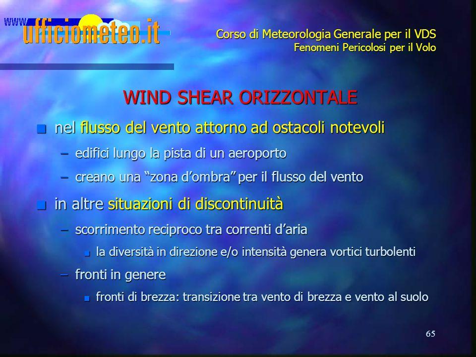 65 Corso di Meteorologia Generale per il VDS Fenomeni Pericolosi per il Volo WIND SHEAR ORIZZONTALE n nel flusso del vento attorno ad ostacoli notevol